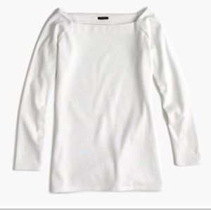 J crew off shoulder top s white boatneck tee
